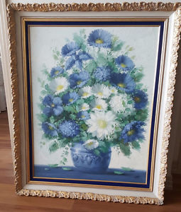 Framed picture of blue flowers