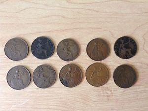 Lot of 10 Antique and Vintage Large Canada & UKPenny