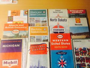 Lot of s-70s Vintage Oil & Gas Stations Road Maps