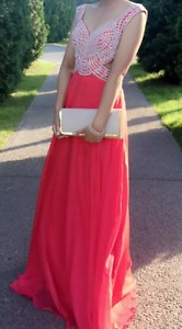 Red beaded open back prom dress