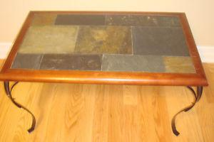 SLATE COFFEE TABLE AND MATCHING SIDE TABLE