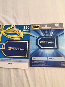 Two $50 Best Buy gift cards for $80