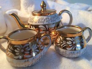 Luster Teapot, sugar and creamer by Gibson England