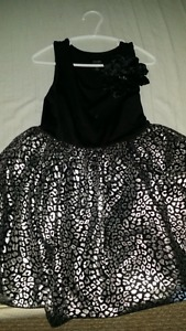 Black and Silver Girls Size 4/5 XS Dress