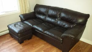 Chocolate Brown Leather Sofa and Ottoman