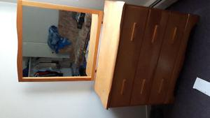 Double bed, dresser and nightstand