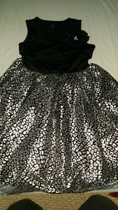 Girls Size  Black and Silver Dress