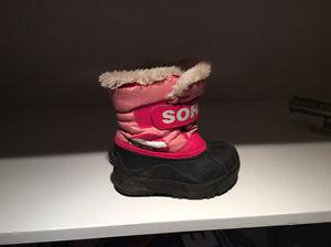 Girls sorel winter boots pink size 8