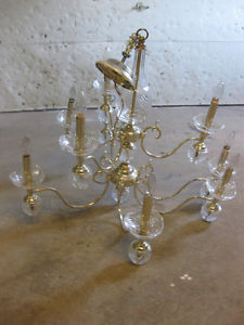 Gorgeous 9-bulb vintage crystal/light silver chandelier