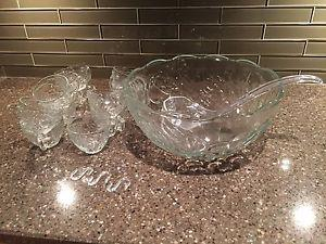 Punch Bowl with Matching Cups