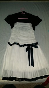 Size 7 Girls Black and White Dress