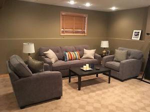 Couch, chairs, end tables and coffee table
