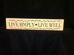 "Handmade & Hand Painted ""Live Simply"" Wooden Signs"