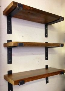 Industrial style steel and wood wall shelving