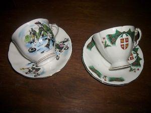 Royal Albert and Royal Adderly Curling Cups Saucers