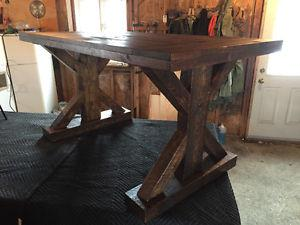 Solid distressed wood farm table
