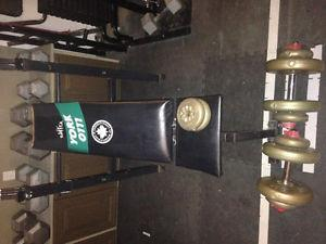 Weight bench and plastic weights.