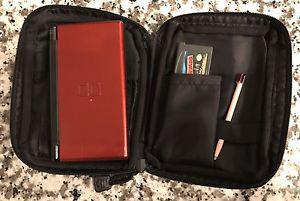 red nintendo ds with case & game