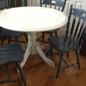 4- country blue chairs with cream table