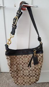 COACH - AUTHENTIC Signature Canvas / Leather shoulder bag