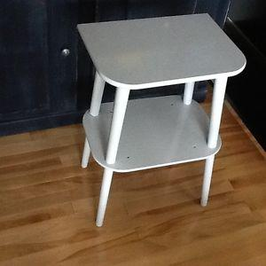 Light grey side table with shelf