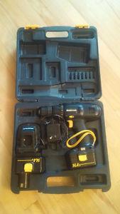 MASTERCRAFT 14.4 Volt Cordless Drill + 2 batteries and