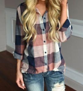 PRETTY pink & blue Plaid 3/4 or long sleeve shirt