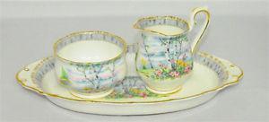 Royal Albert Silver Birch China Creamer, Sugar Bowl andTray