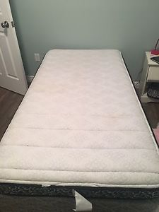 Twin box spring, mattress and frame