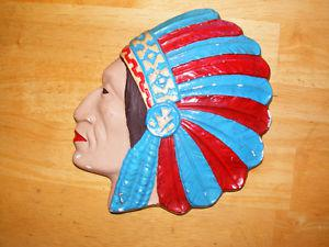 Vintage Indian Chief Head - White Plaster - 's