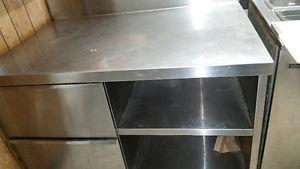 4ft Stainless Steel Prep Table with 2 Shelves and 2 Drawers