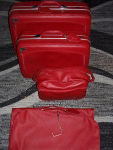 4pc Vintage Dionite red luggage set