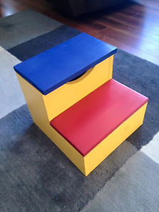 Handmade step stool with built in storage