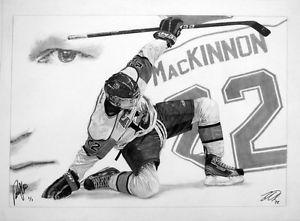 "Nathan MacKinnon signed sports art   20"" x 28"" original"