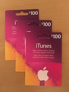 itunes gift card $100 x3