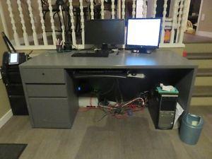 large grey work desk