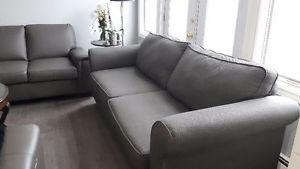 Deep grey fabric couch & love seat + table&chairs