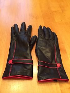 Red and black leather gloves