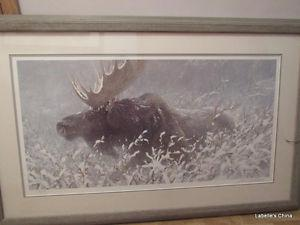 Robert Bateman - Signed Framed Print: Winter Run Bull Moose