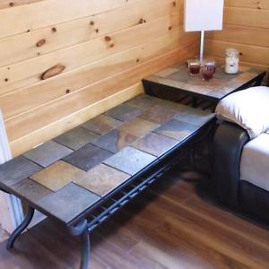 Slate tile coffee & end table set