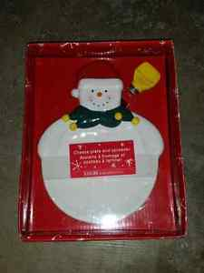 Snowman cheese plate and spreader