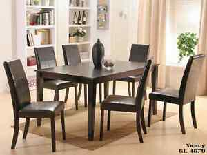 UNBEATABLE SALE 7 PCS SOLID WOOD DINING SET: TABLE WITH 6