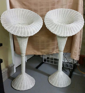 Vintage White Wicker Plant Stands