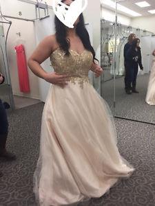0X/1X size Gold Grad Dress