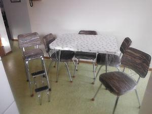 Chrome Kitchen Table, chairs and stepstool.
