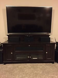 Large brown TV stand