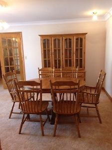 Solid Oak Table 6 Chairs and Hutch