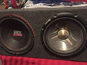 2x 12 inch subs amp and deck and all the wires you need.