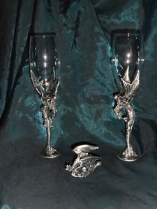 3 Piece Set of Pewter Dragon Goblets with Centre Piece