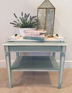 Antique blue coffee and matching side table